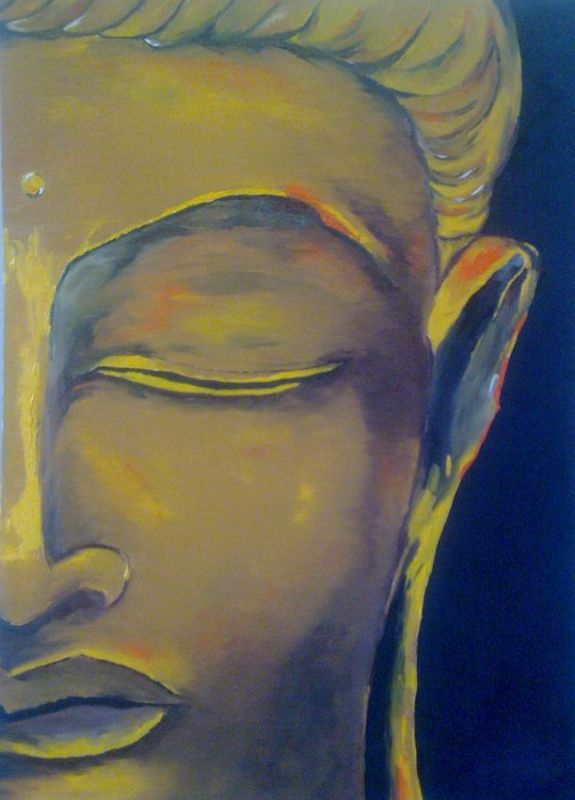 Painting Of Buddha For Half Face