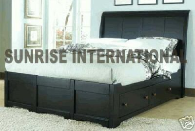 Artistic design wooden Double Bed with 4 storage drawer